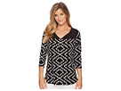 Tribal Pack and Go Travel Jersey Printed 3/4 Sleeve Top with Keyhole