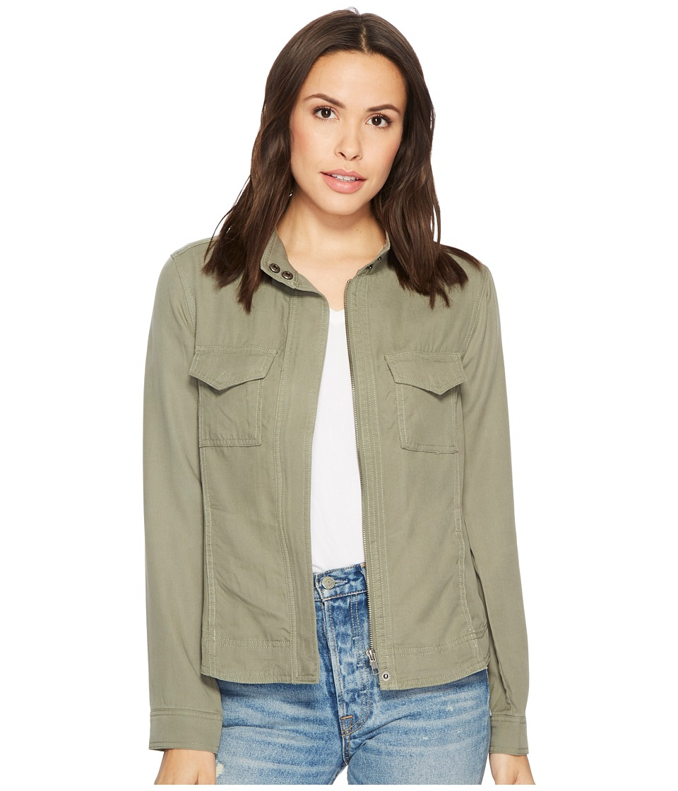 Liverpool Anorak Shirt Jacket in Textured Tencel (Shadow Green) Women
