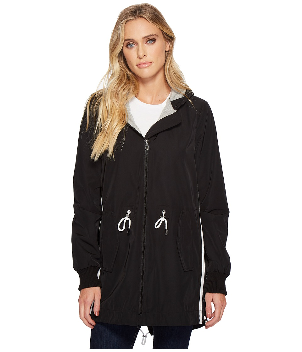 Vince Camuto Hooded Parka with Drawstring Waist (Black) Women's Coat