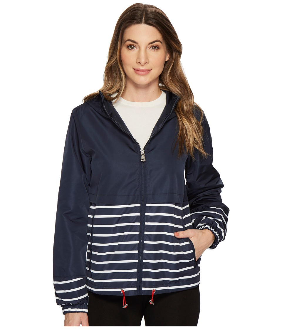 Vince Camuto Hooded Short Parka with Contrast Stripes (Navy) Women's Coat