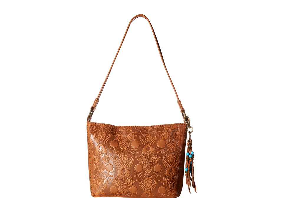 The Sak - Indio Leather Demi (Tobacco Floral Embossed) Shoulder Handbags