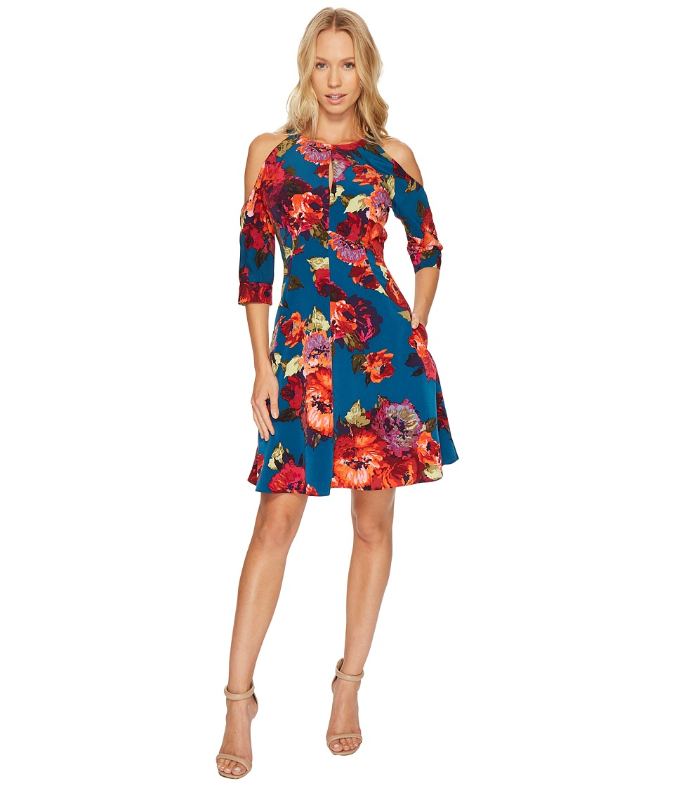 Maggy London Cold Shoulder Fit and Flare Dress (Blue/Coral) Women