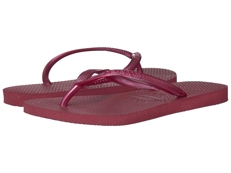 Havaianas Slim Flip Flops (Beet) Sandals