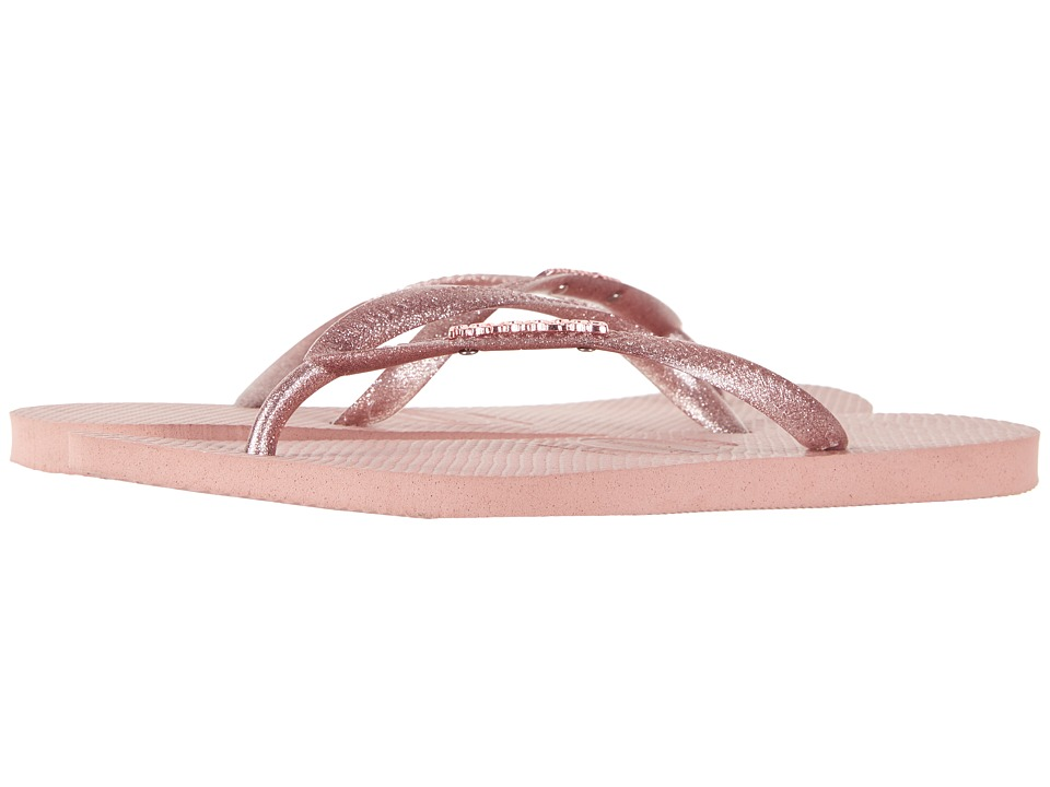 Havaianas - Slim Logo Metallic Flip Flops (Rose) Women's Sandals