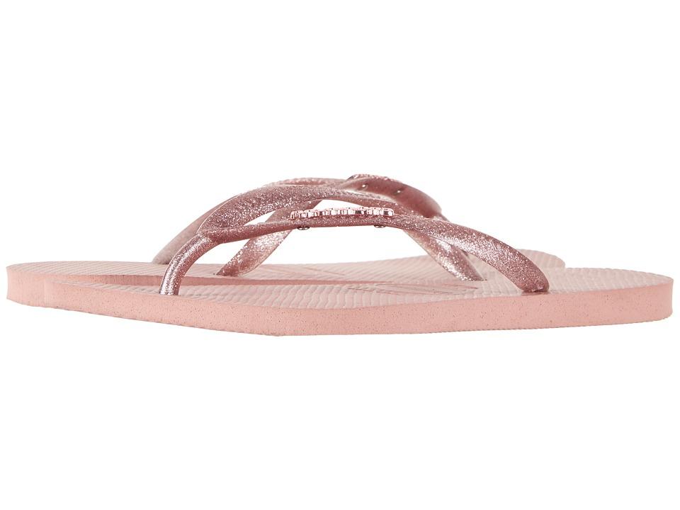 Havaianas - Slim Logo Metallic Flip Flops (Rose) Womens Sandals