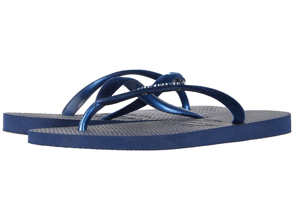 Havaianas - Slim Velvet Flip-Flops (Navy Blue) Womens Sandals