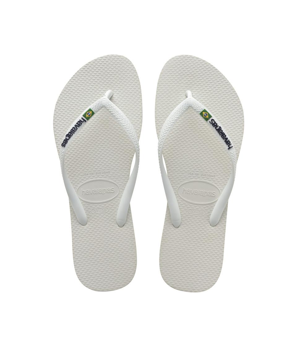 Havaianas - Slim Brazil Flip-Flops (White) Womens Sandals