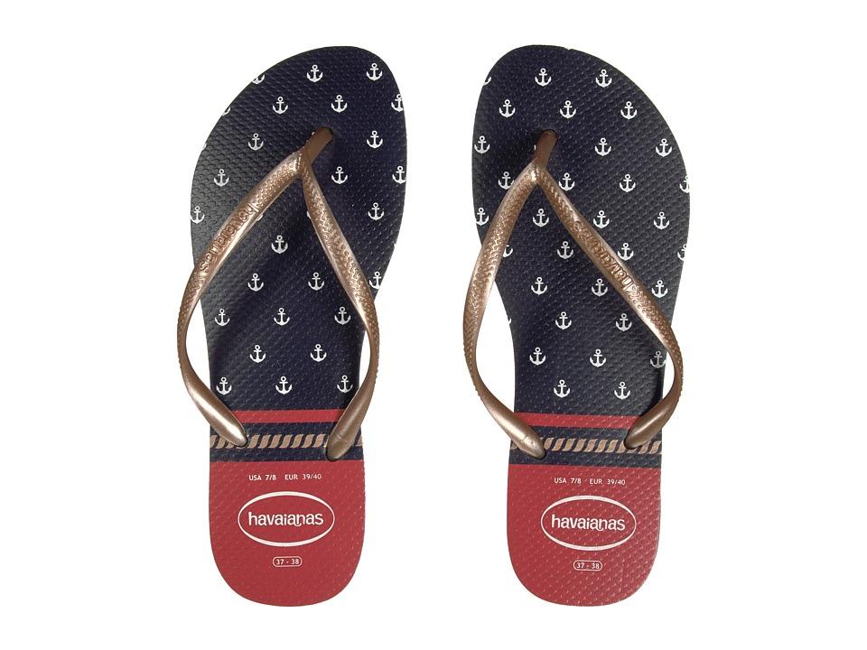 Havaianas - Slim Nautical Flip-Flops (Navy Blue/Red) Womens Sandals