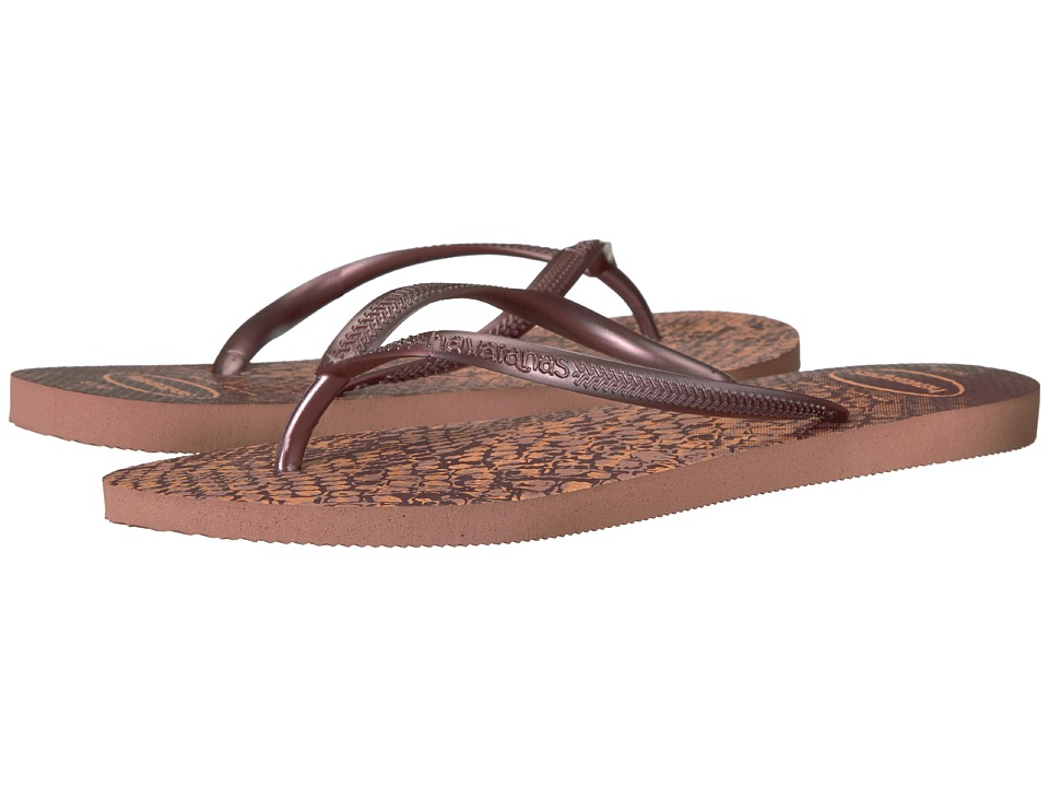 Havaianas Slim Animals Flip Flops (Crocus Rose) Women