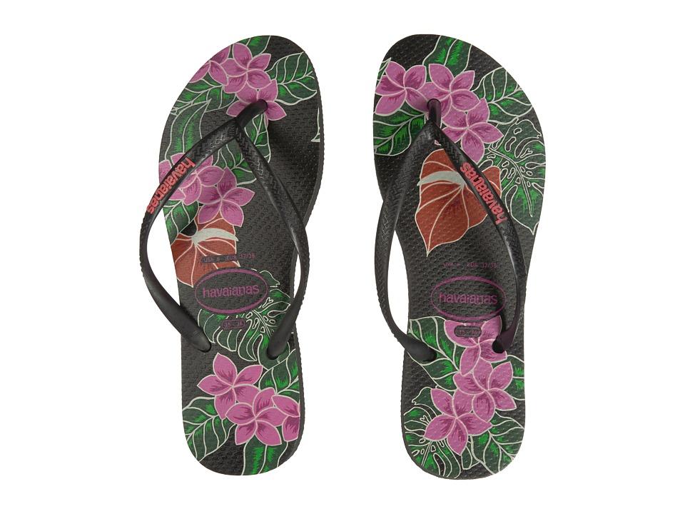 Havaianas - Slim Floral Flip Flop (Black) Womens Sandals