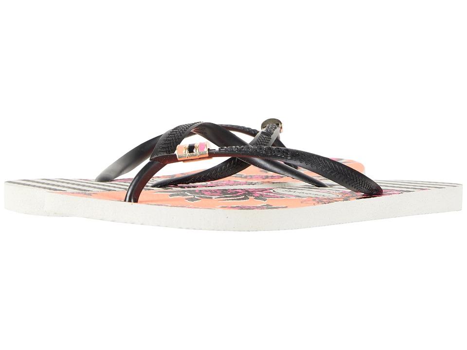 Havaianas - Slim Thematic Flip Flops (White/Black) Womens Sandals