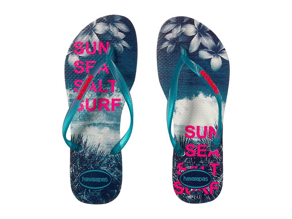 Havaianas - Slim Paisage Flip Flops (White/Turquoise) Women's Sandals