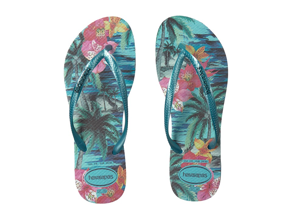 Havaianas - Slim Tropical Flip Flops (Blue Splash) Womens Sandals