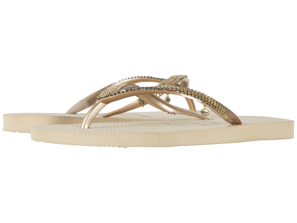 Havaianas - Slim Metal Mesh Flip Flops (Sand Grey) Womens Sandals