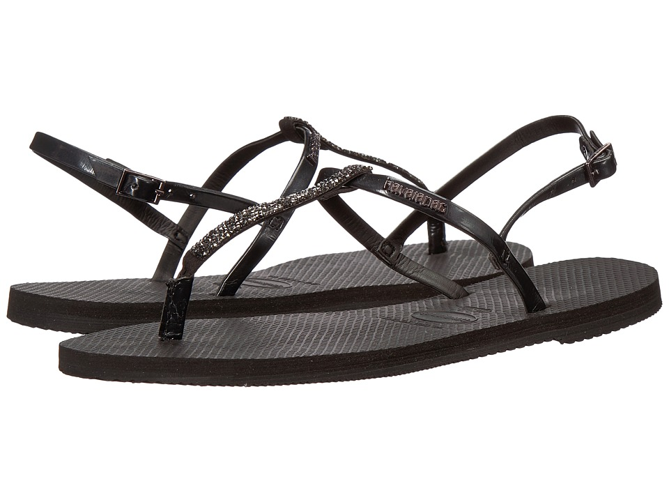 Havaianas - You Riviera Crystal Sandals (Black) Womens Slippers