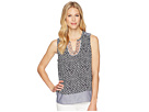 Tribal Printed Sleeveless Blouse with Embroidered Placket