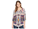 Tribal Printed 3/4 Sleeve Blouse with Beading