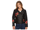 Tribal Biker Jacket with Floral Patches