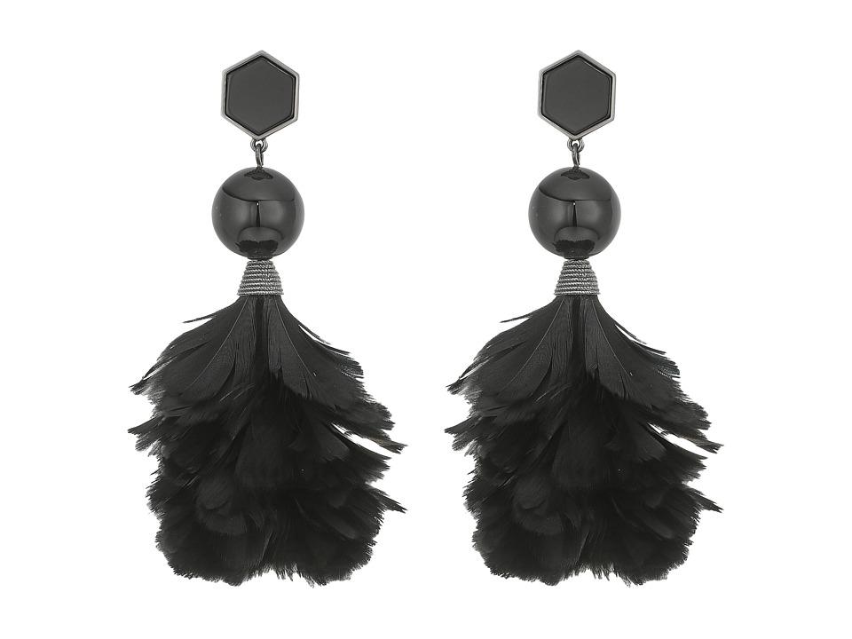 Tory Burch Feather Drop Earrings (Onyx/Hematite) Earring