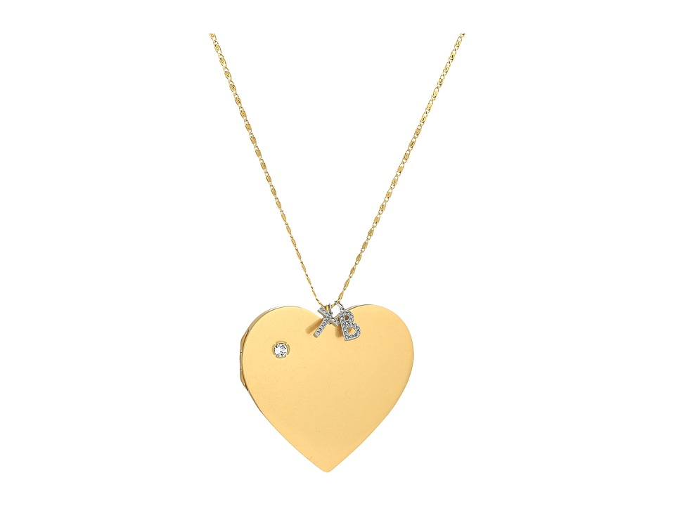 Tory Burch Heart Locket Pendant Necklace (Vintage Gold) N...