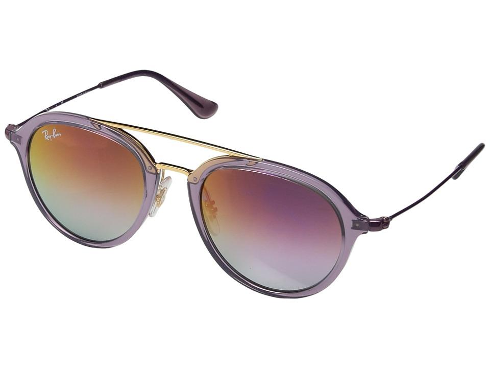 Ray-Ban Junior RJ90655 48 mm (Youth) (Transparent Violet/Lilac Mirror Gradient) Fashion Sunglasses