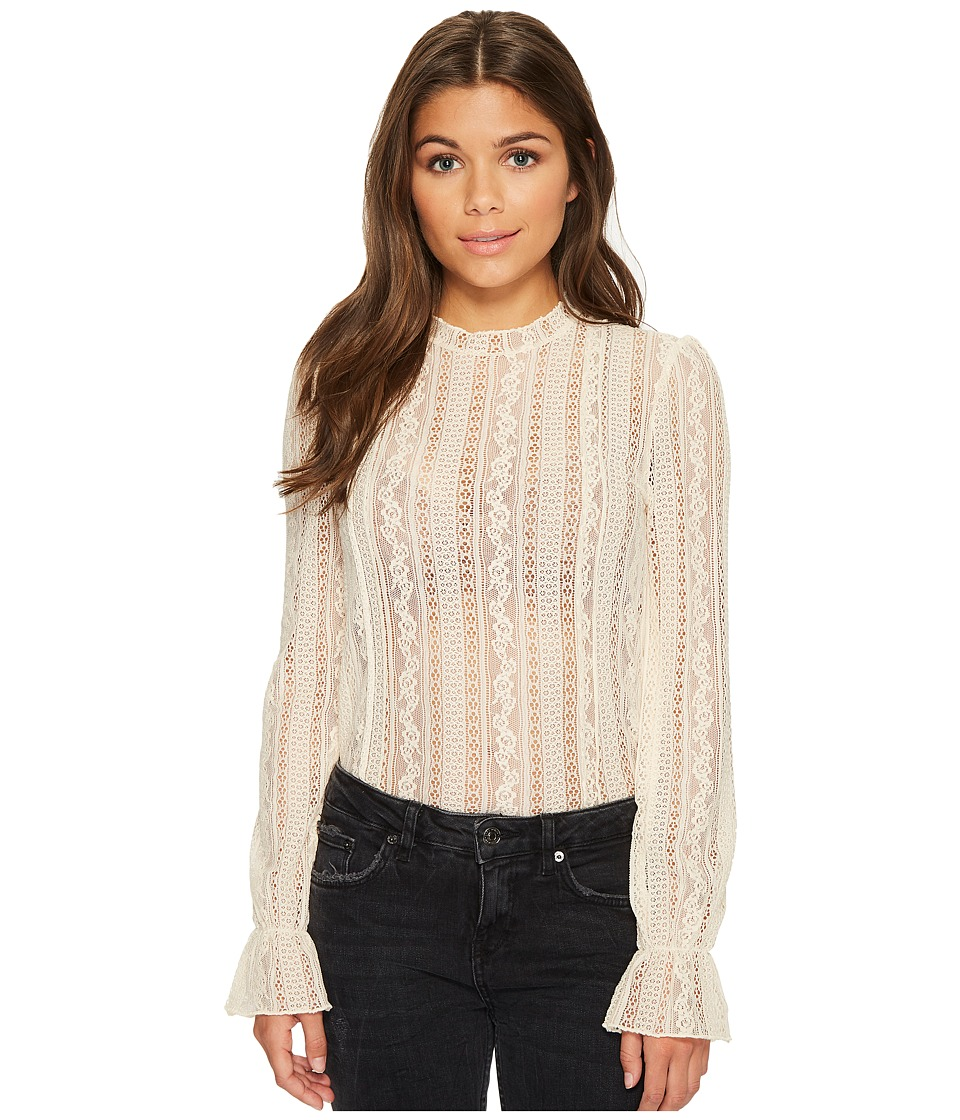 Image of Amuse Society - All About That Lace Knit Top (Sand Dollar) Women's Clothing