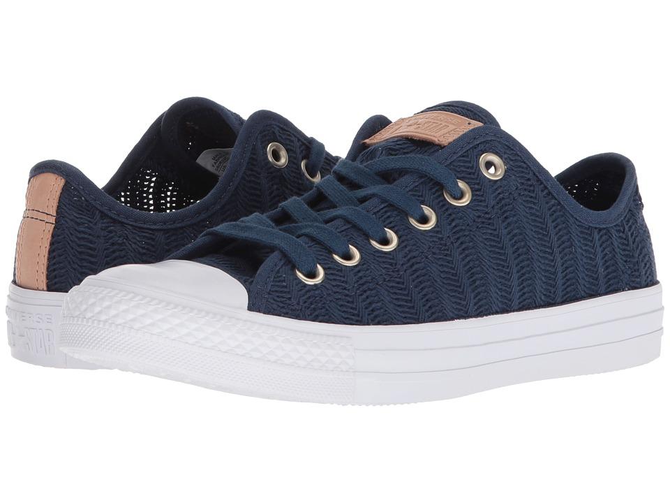 Converse Chuck Taylor All Star Ox - Herringbone Mesh (Navy/Tan/White) Women's Classic Shoes