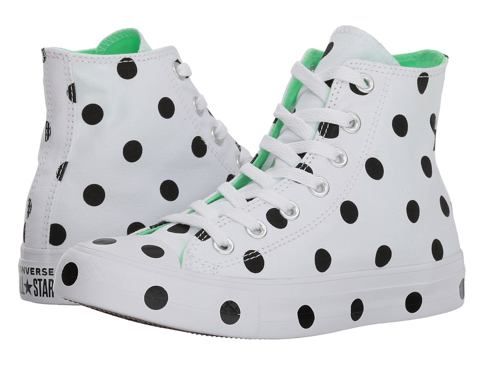 Converse - Chuck Taylor(r) All Star(r) Hi - Dots (White/Black/Illusion Green) Womens Classic Shoes