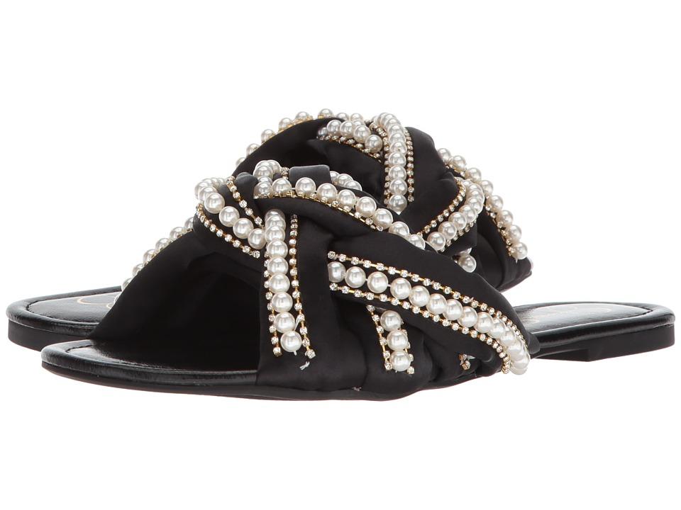 Jessica Simpson - Rhondalin (Black Crystal Satin) Womens Flat Shoes