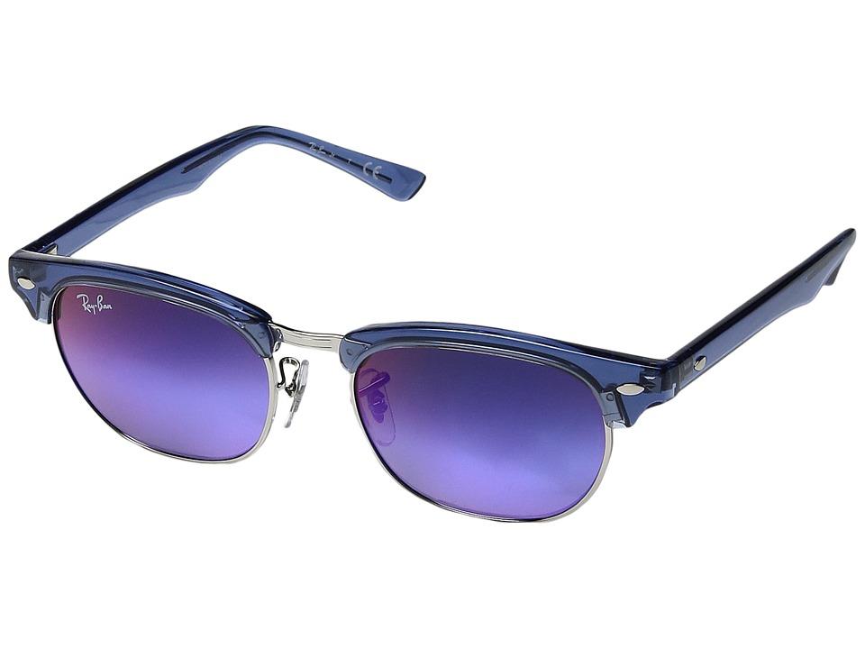 Ray-Ban Junior RJ9050S Clubmaster 47mm (Youth) (Transparent Blue/Blue Mirror Gradient) Fashion Sunglasses