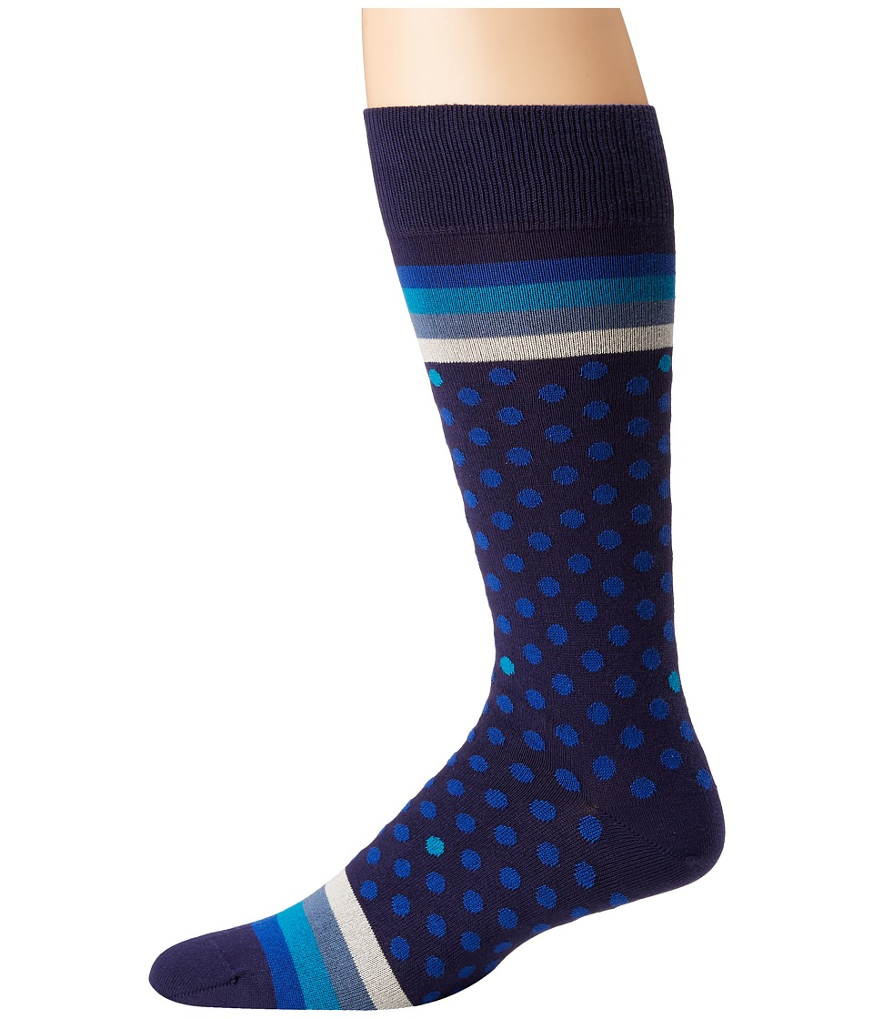 Paul Smith - Polka Stripe Sock (Blue Multi) Mens Crew Cut Socks Shoes