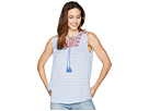 Tribal Textured Crepe Sleeveless Embroidered Top