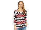 Tribal Printed Jersey Crew Neck Top with Fooler Back