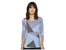 Tribal 3/4 Sleeve Boat Neck Printed Jersey Top