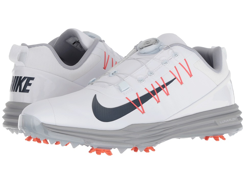 Nike Golf - Lunar Command 2 BOA (White/Thunder Blue/Wolf Grey/Rush Coral) Mens Golf Shoes