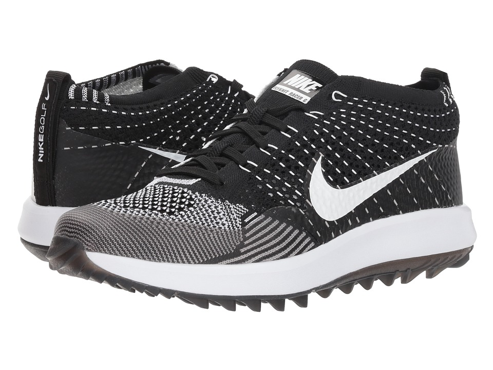 Nike Golf Flyknit Racer G (Black/White) Women's Golf Shoes