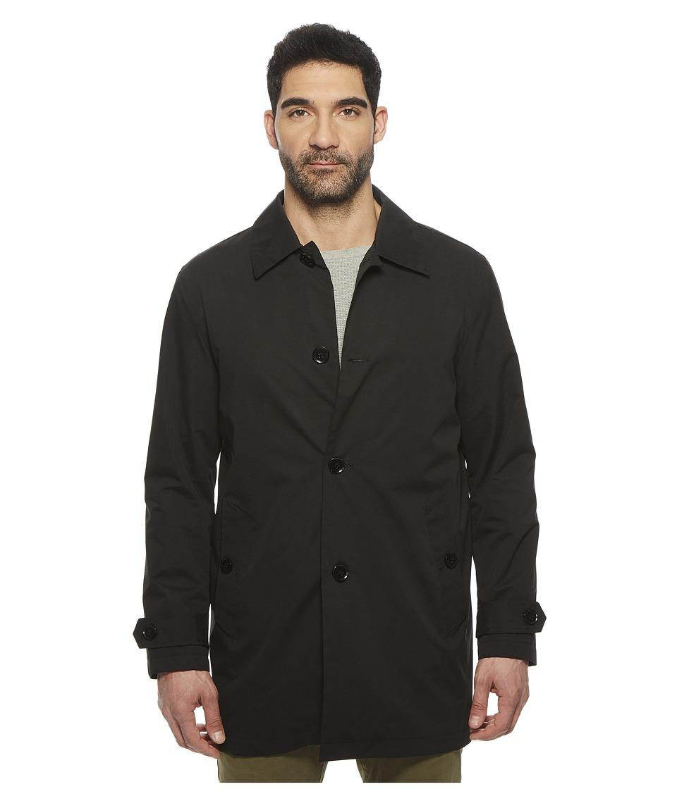 Cole Haan Stand Collar Rain Jacket with Back Hem Vent (Black) Men