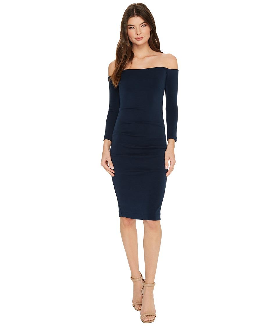 Nicole Miller Cupro Off Shoulder Party Dress (Navy) Women