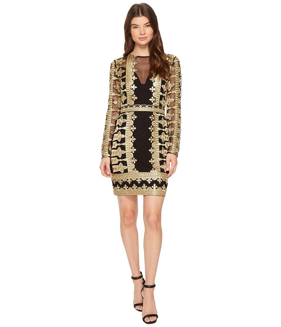 Nicole Miller Crown Embroidery Mesh Long Sleeve Dress (Black/Gold) Women