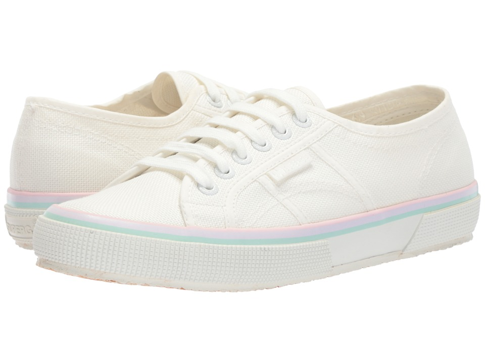 Superga - 2750 COTW 3 Stripe Sneaker (White Multi) Womens Shoes
