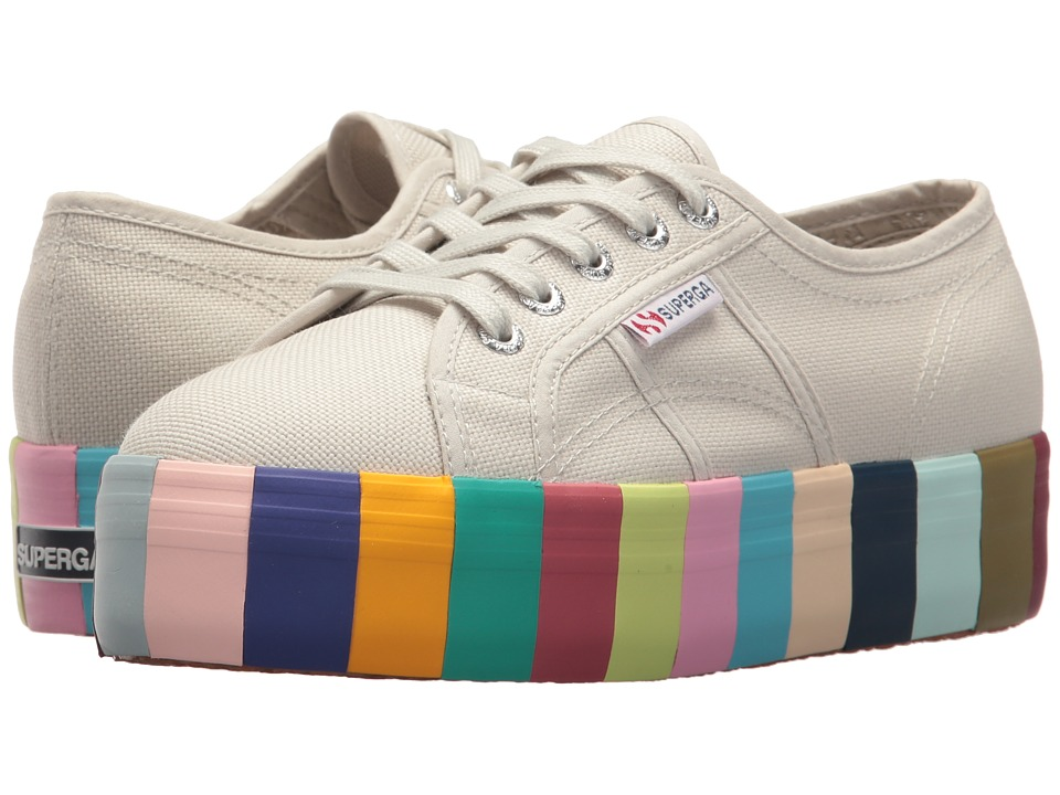Superga - 2790 Cot 14 Colorsfoxingw Platform Sneaker (Platinum) Womens Shoes
