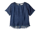 DL1961 Kids Dark Wash T-Shirt w/ Button Down Back (Little Kids/Big Kids)
