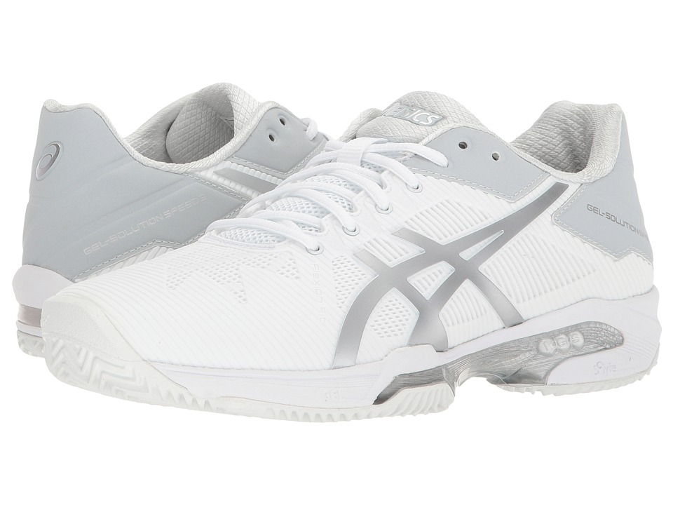 ASICS - Gel-Solution(r) Speed 3 - Clay (White/Silver) Womens Tennis Shoes