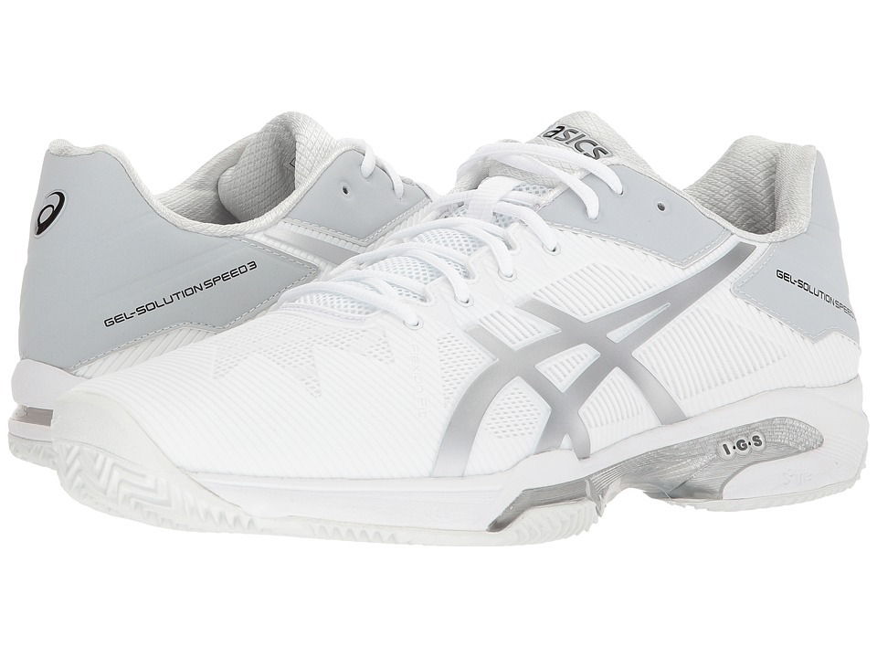 ASICS - Gel-Solution(r) Speed 3 - Clay (White/Silver) Mens Tennis Shoes