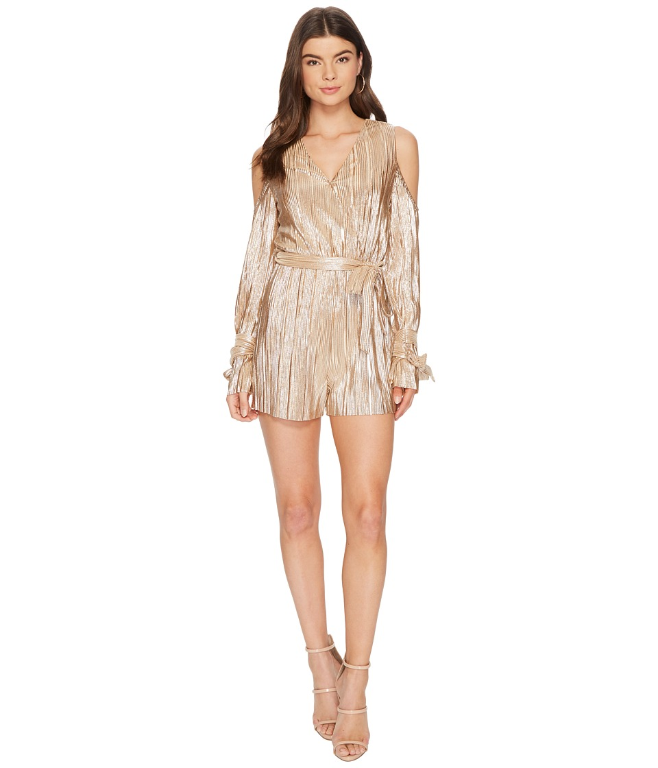 J.O.A. - Pleated Cold-Shoulder Romper (Champagne) Womens Jumpsuit & Rompers One Piece