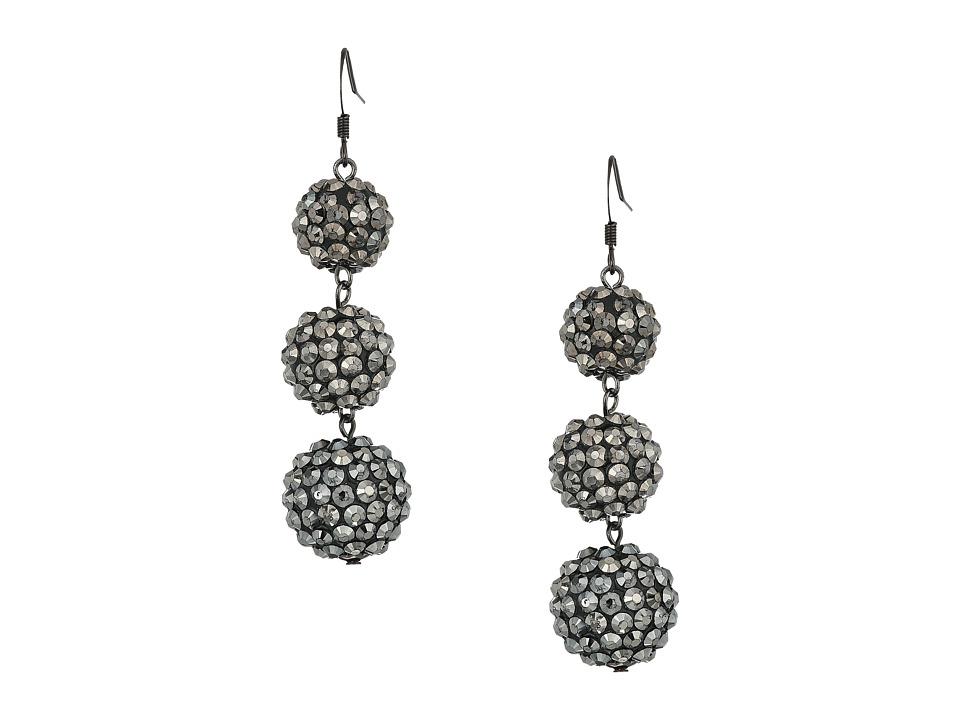 Kenneth Jay Lane 3 Ball Drop Fishhook Earrings (Hematite)...
