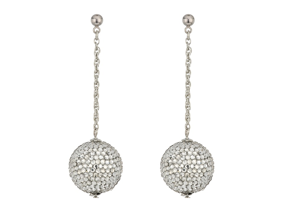 Kenneth Jay Lane Pave Ball On Silver Chain Drop Post Earr...