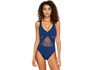 Bleu Rod Beattie Don't Mesh With Me V-Neck Mesh Strappy Crossback One-Piece