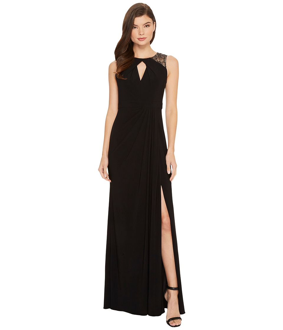 Adrianna Papell - Sleeveless Jersey Gown with Illusion Lace Shoulder