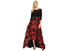 Adrianna Papell Rose Pattern Ball Skirt with Long Sleeve Jersey Top